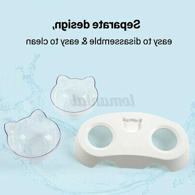 Pet Dog Cat Double Bowls Non-slip Food Water Container