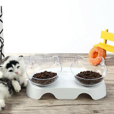 Pet Double Bowls Dishes Non-slip Stand Container
