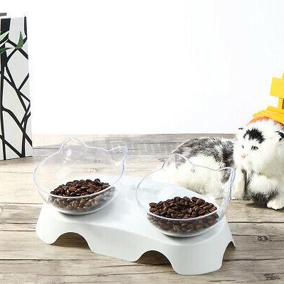 Double Bowls Dishes 15° Non-slip Stand Food Container