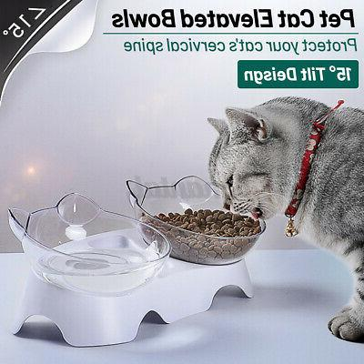 pet dog feeder cat double bowls dishes