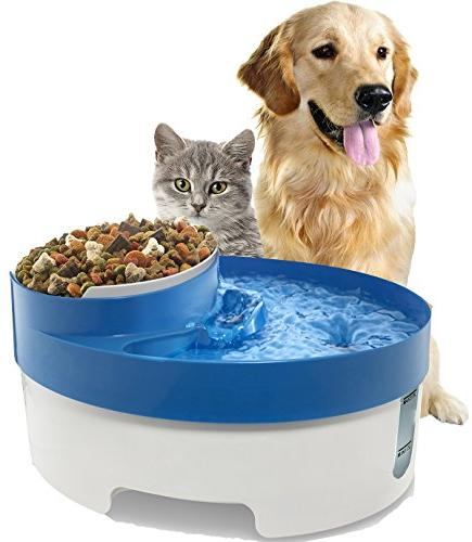 OxGord Fountain Water & Bowl Feeder for Cats Water Filter