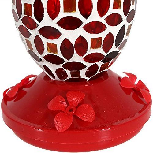 Sunnydaze Decor Red Glass Flower Feeder, Red,