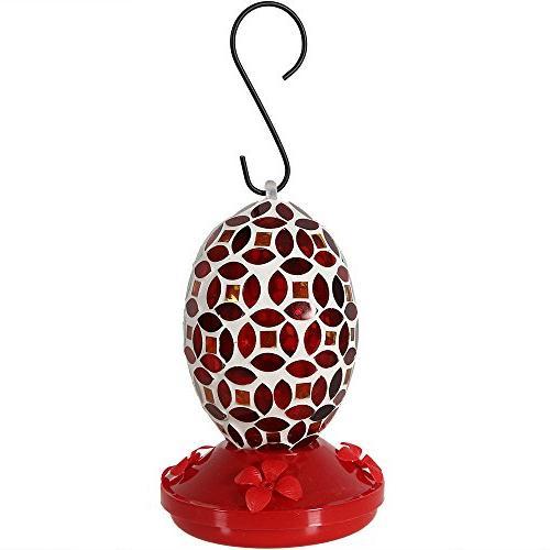 Sunnydaze Glass Flower Feeder, Red, Inch