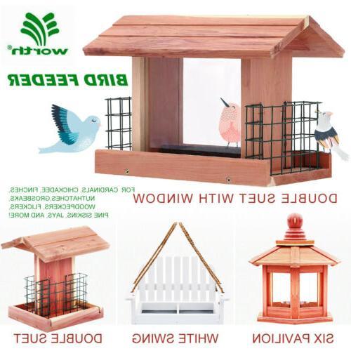 songbird essentials bird feeder handmade cedar wooden