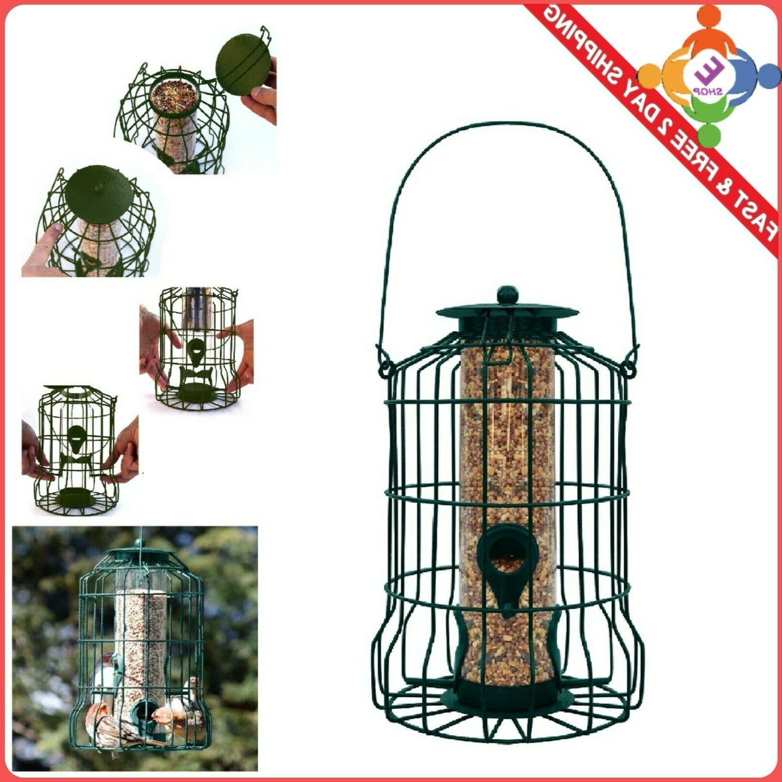 squirrel proof bird feeder hanging cage seed