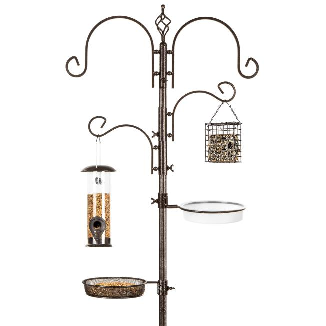 Sturdy Tall Bird Feeding Station Yard Garden Tube Suet Feede