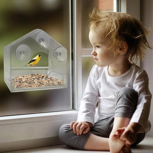 Nature Gear Window Bird Feeder - Tray - Weather Proof - Squirrel Resistant Water - Songbirds from Home!