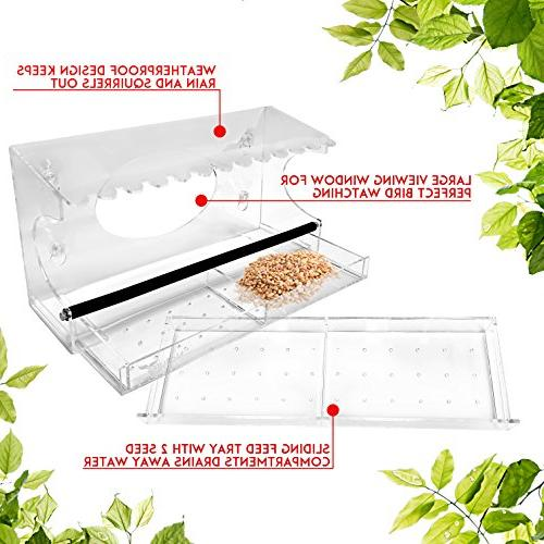 Nature XL Bird Roof Steel Perch - Sliding Tray Wild Birds Finches, Cardinals Chickadees Close!