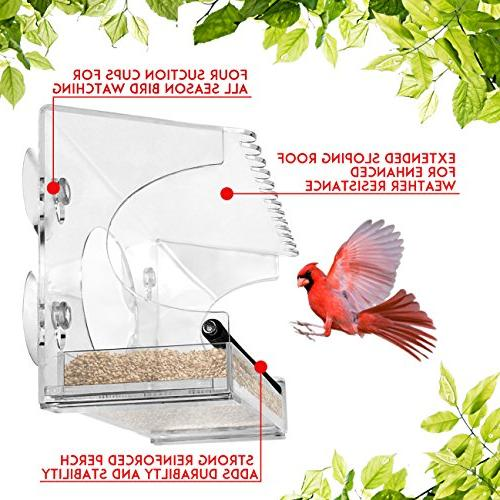 Nature Gear XL Window Bird - Extended Roof - Drains Water - Wild Like Cardinals and Chickadees Close!