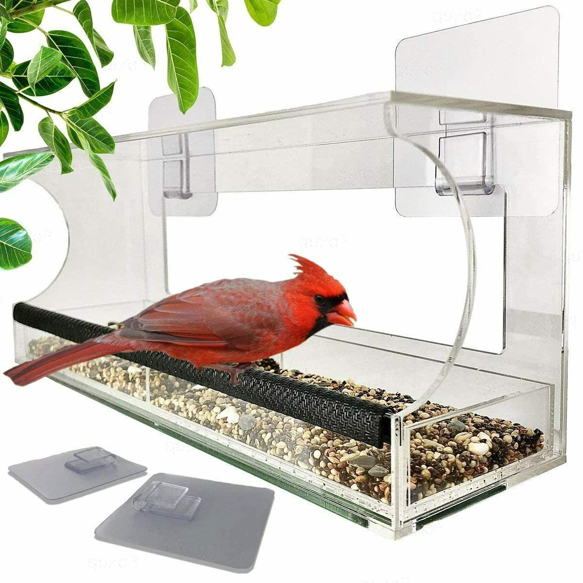 window bird feeders with sliding feed tray