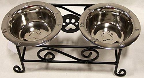 wrought iron dog feeder raised
