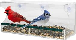 Large Acrylic Window Bird Feeder w/Removable Tray Suction Cu