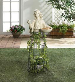 LARGE white outdoor garden girl bird feeder statue sculpture