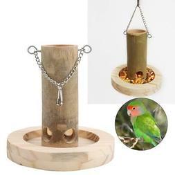 Lovely Bird Feeders for Outside Hanging Wood + Bamboo Tube B