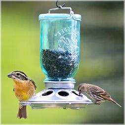 Perky-Pet 784 Mason Jar Wild Bird Feeder, Blue