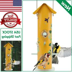 KINGSYARD Lightweight Tube Bird Feeders All Metal Yellow Wil