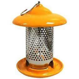 Orange Ceramic Bird Feeder W/ 3-Feeding Ports Outdoor Garden