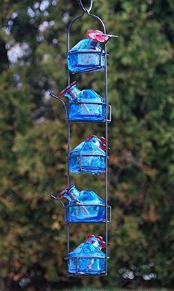Parasol Lunch Pail Hummingbird Feeder, Tall, Aqua, 17.5 oz.