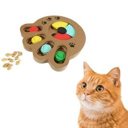 Pet Cat Interactive Wooden Puzzle Toy Play Fun IQ Treated Di