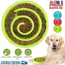 Slow Feeder Dog Bowl Anti Bloat Non Skid Food Dish Water Fee