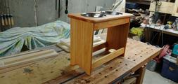 "pet feeder station handmade solid maple 18"" tall. Dog feed"