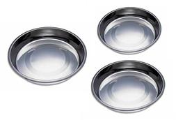 Puppy Pan Feeders Wide Flat Stainless Steel Dishes Dog Litte