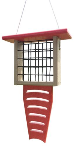 JCs Wildlife Recycled Single Suet Feeder Tail Prop Brown & G