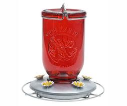 Red Mason Jar Hummingbird Feeder set of 2