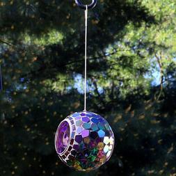 Round Mosaic 6 Inch Glass Wheel Hanging Bird Seed Feeder