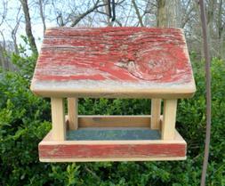 Rustic Wood Bird Feeder * Hanging Tray Feeder * Outdoor Bird