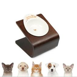Single Raised Pet Feeding Station Bowls Holder Wooden Pet Do
