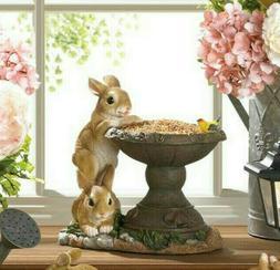 SMALL bunny rabbit raised pedestal Bird Bath seed feeder out