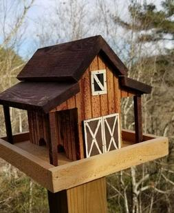 Small Old Red Barn Bird Feeder Solid Cedar Wood Handcrafted