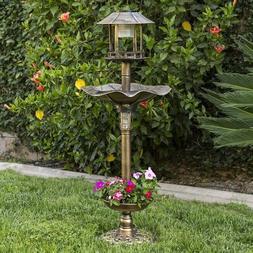 Solar Bird Bath Bronze LED Light Pedestal Feeder Planter Yar