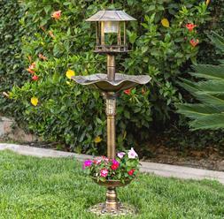 Solar LED Pedestal Bird Bath Feeder With Planter Garden Lawn