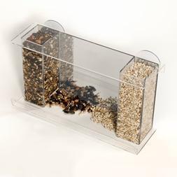 Spring Pet Bird Galley Window Feeder - Clear Acrylic w/ Mirr