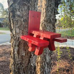 Squirrel Feeder Picnic Table - RED in Color - Solid Wood - M