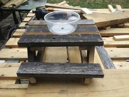 Squirrel Feeder Picnic Table - Solid Wood - Hand-made