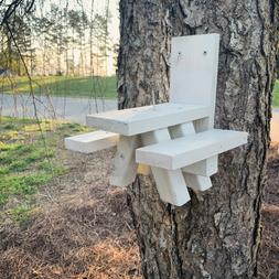Squirrel Feeder Picnic Table - WHITE in Color - Solid Wood -