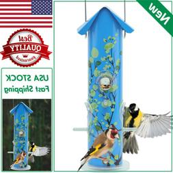 KINGSYARD Blue Metal TUBE BIRD FEEDER Lightweight Hanging Wi