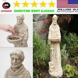 ST, FRANCIS Statue with Bird Feeder for Outdoor Outside Gard
