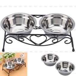 Double Bowl Dog Cat Feeder Elevated Stand Raised Dish Feedin
