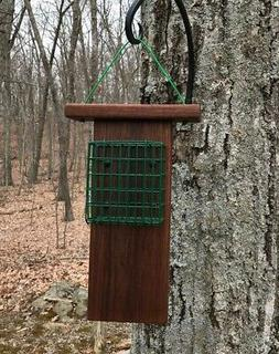 Suet Cake Bird Feeder with Tail Prop for Woodpeckers - Made