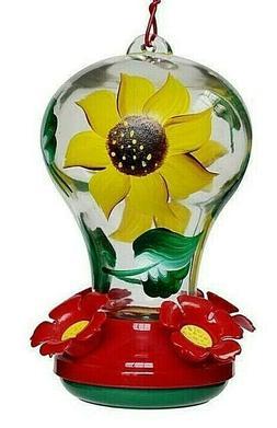 .Sunflower Glass Hummingbird Feeder 4 Feeding Ports Yellow B