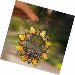Evergreen Garden Sunflower Metal and Glass Hanging Mesh Bird