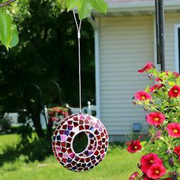 Sunnydaze Outdoor Hanging Bird Feeder Crimson Glass Mosaic F