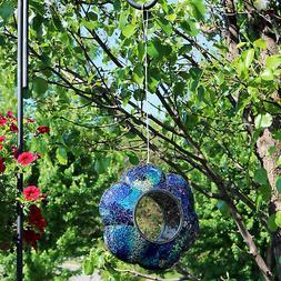 Sunnydaze Outdoor Hanging Bird Feeder Indigo Glass Flower Fl