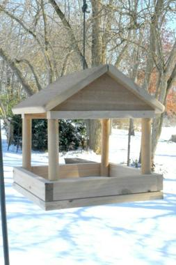 Handcrafted Tray Bird Feeder, Large Wood Platform Feeders, H