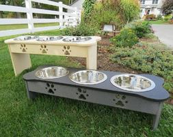 """TRIPLE DISH ELEVATED POLY FEEDER 15"""" Tall for Large Dogs ~"""