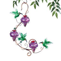 Triple Purple Glass Hanging Hummingbird Feeder, by Collectio